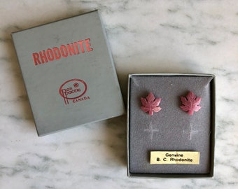 Vintage Rose Pink Rhodonite Maple Leaf Stud Earrings