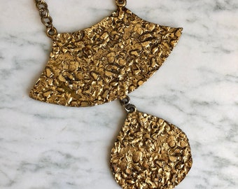 Vintage 70's Gold Metal Statement Necklace