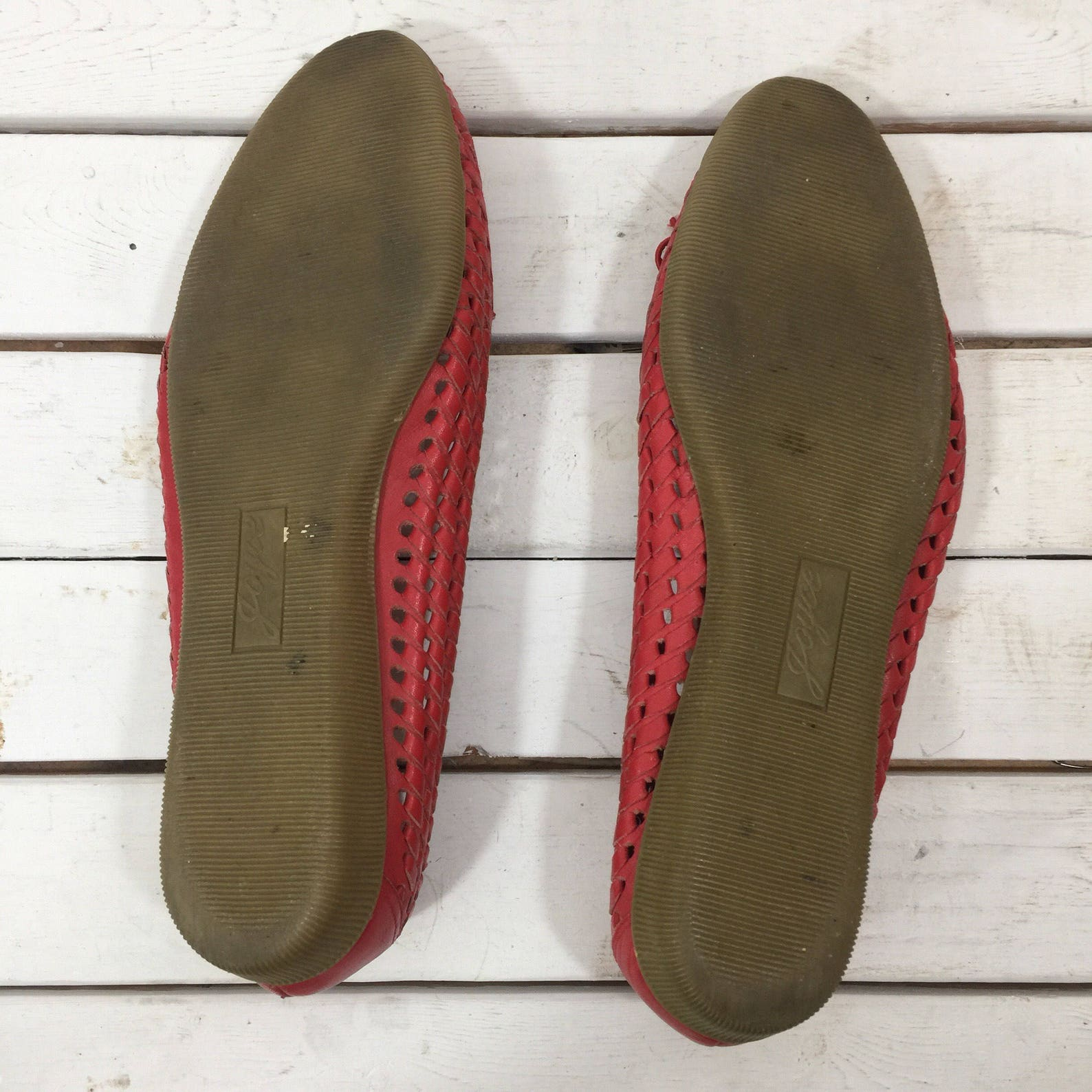 vintage 80's red woven leather ballet bow flats 8