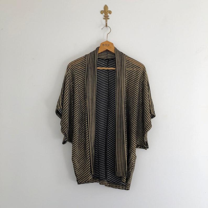 5a38ecdf7ea Vintage Gold and Black Mesh Cardigan Jacket
