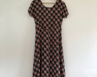 Vintage 90's Sheer Black Rose Print Maxi Dress S
