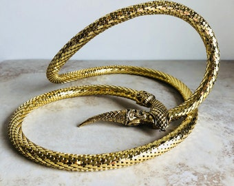Vintage 80's Gold Mesh Snake Head Belt Necklace