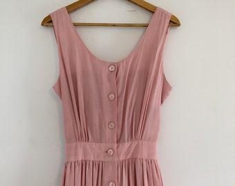 Vintage 80's Pink Crisscross Back Full Button Front Sun Dress M