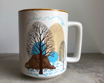 Vintage 70's Trees Speckled Stoneware D Handle Mug