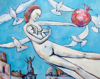 Original painting GIRL FLYING with baby and magic pomegranate oil on canvas motherhood art home decoration