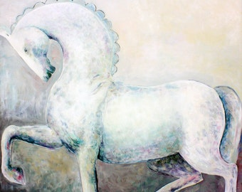 GREY HORSE original oil on canvas painting large art modern artwork by Elisaveta Sivas home decoration