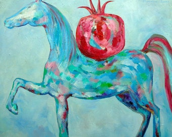 Original oil painting raw modern art horse painting blue white red painting turquoise HORSE WITH POMEGRANATE