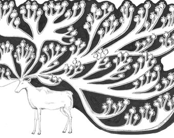 Original modern art black and white pen drawing ink drawing animal sketch home decoration DEER by Elisaveta Sivas A3 size