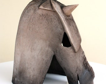 Abstract horse ceramic bust sculpture // modern artwork by Elisaveta Sivas