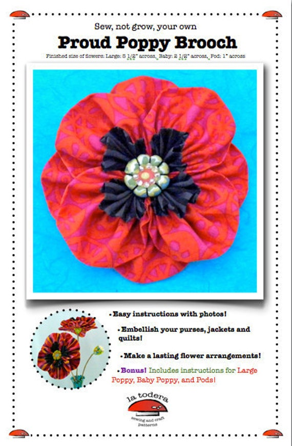 Kanzashi Flowers Pin Brooch Pansy Pattern PDF Pattern Tutorial Fabric Flower Headbands Hair Clip Bouquet Embellishments Wedding La Todera