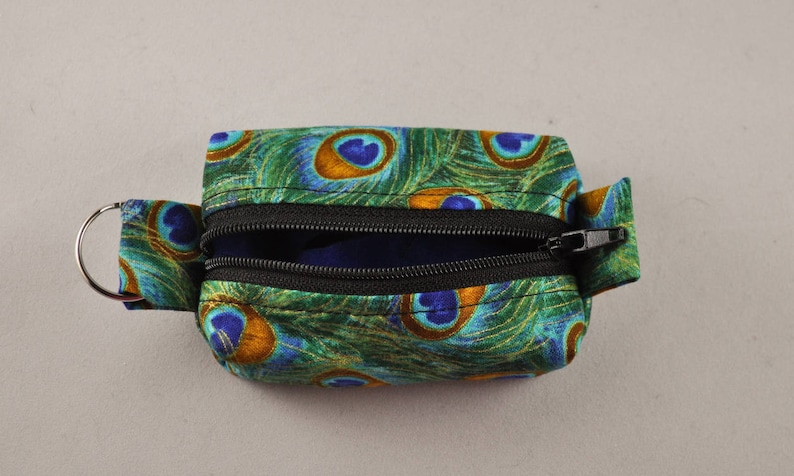 Essential Oil Mini Bag Key Fob Mask Peacock Feathers Tiny Zippered Boxy Keychain Pouch Holder Coin Purse Earbud Holder