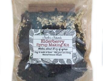 Elderberry Syrup DIY Kit -  Natural Immune Support - Elderberries, Ginger, Cloves, Cinnamon - Cough Syrup - Makes 18oz