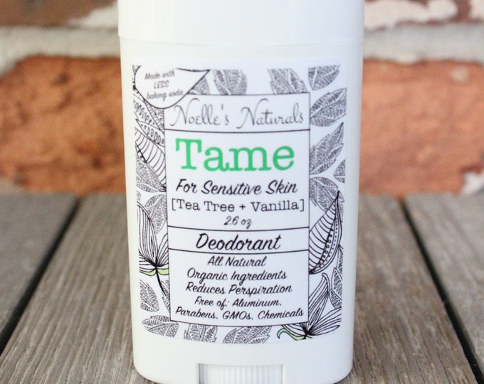 Natural Deodorant - Less Baking Soda for Sensitive Skin - Aluminum Free, non-GMO - Organic Ingredients - Tea Tree + Vanilla