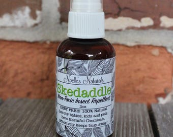 ON SALE! Non-Toxic Insect Repellent Bug Spray - Deet Free! Travel Size 2oz - Skedaddle [Organic Yarrow + Citronella] 100% Natural
