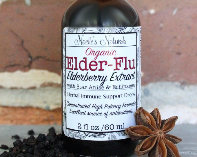 Organic Elderberry Extract - Concentrated Elixir - Organic Black Elder berry, Star Anise, Echinacea, Immune Boost, Cold & Flu, Keto, Drops