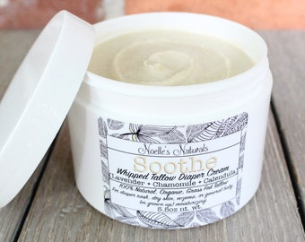 Natural Diaper Rash Cream - Organic Grassfed Whipped Tallow - 5.5oz jar With Lavender, Chamomile, Calendula and Oatmeal - Cloth Diaper Safe