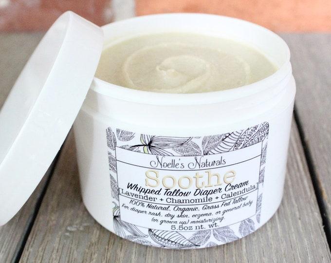 Natural Diaper Rash Cream - Organic Grassfed Whipped Tallow - 5.5oz jar With Lavender, Chamomile, Calendula and Oatmeal - Cloth Diaper Safe