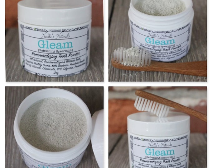Tooth Powder - Remineralizing -  2oz - Spearmint - Natural - No Fluoride - No Glycerin - No SLS - No Preservatives - Whitening - Non-toxic