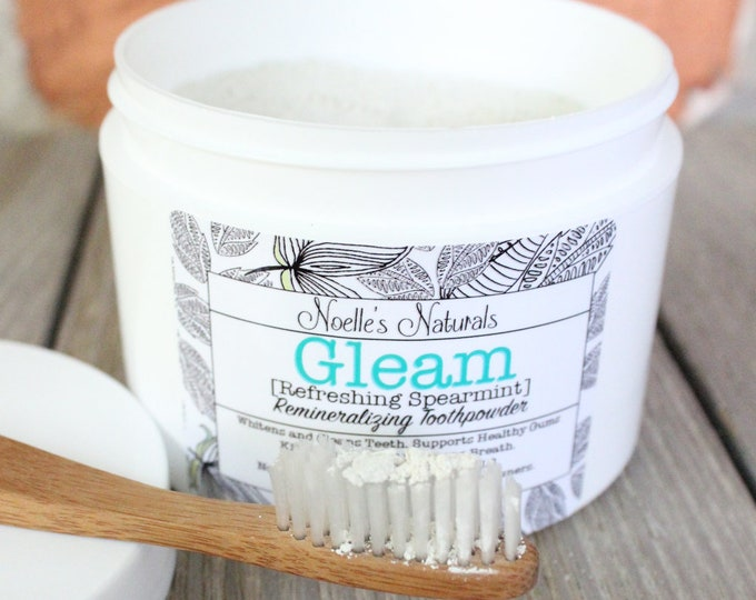 Remineralizing Tooth Powder, Spearmint, Natural, Organic Ingredients, Fluoride Free, SLS Free, Glycerin Free, Bentonite Clay, Family Size