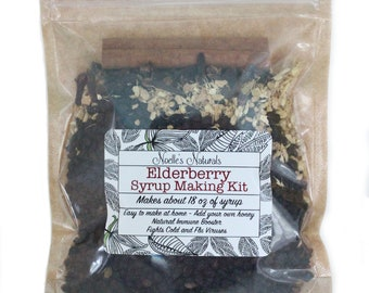 Elderberry Syrup DIY Kit -  Natural Immune Support - Elderberries, Ginger, Cloves, Cinnamon - Cough Syrup - Makes 18oz - Cold & Flu