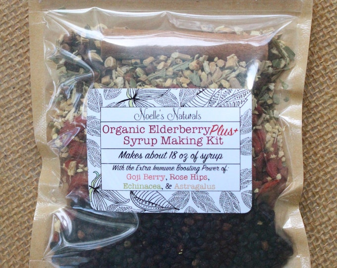Organic Elderberry DIY Syrup Kit - Elder berry, Goji Berries, Echinacea, Astragalus, Rose Hips, Cloves, Ginger, Cinnamon, Immune Support