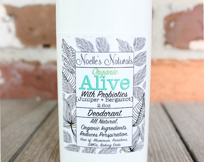 Organic Probiotic Deodorant - No Baking Soda - Aluminum Free - Natural - No Parabens - Juniper Berry + Bergamot - Sensitive Skin