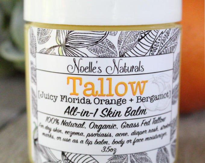 Tallow Balm - Orange + Bergamot - Organic Grassfed Tallow -Moisturizing - All Natural - For Eczema - Dry Skin - Diaper Rash - Stretch Marks