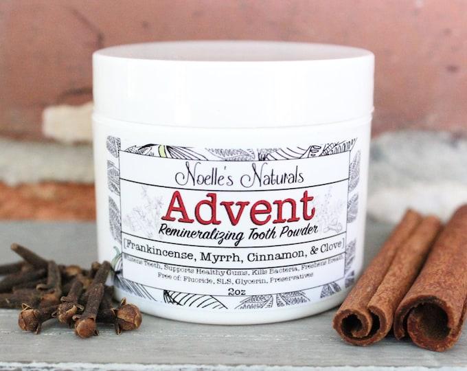 Advent Holiday Tooth Powder - Clove Cinnamon Frankincense & Myrrh, Remineralizing Mineral Dental Care, Fluoride Free - Natural Organic