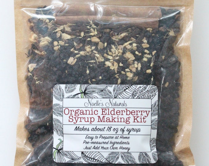 Organic Elderberry Syrup DIY Kit -  Natural Immune Support - Elderberries, Ginger, Cloves, Cinnamon - Cough Syrup - Makes 18oz