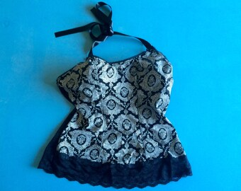 LINGERIE - Vintage Lace Black Halter Bra Top - Paisley and Ribbons - PASSIONATA - Sz: XS