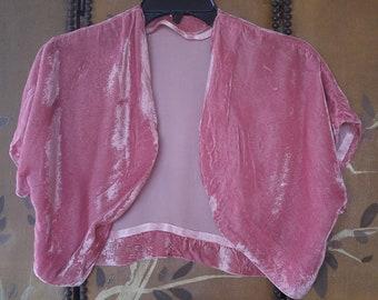2d2e39978a 60 s pink crushed velvet shrug   bolero   crop top