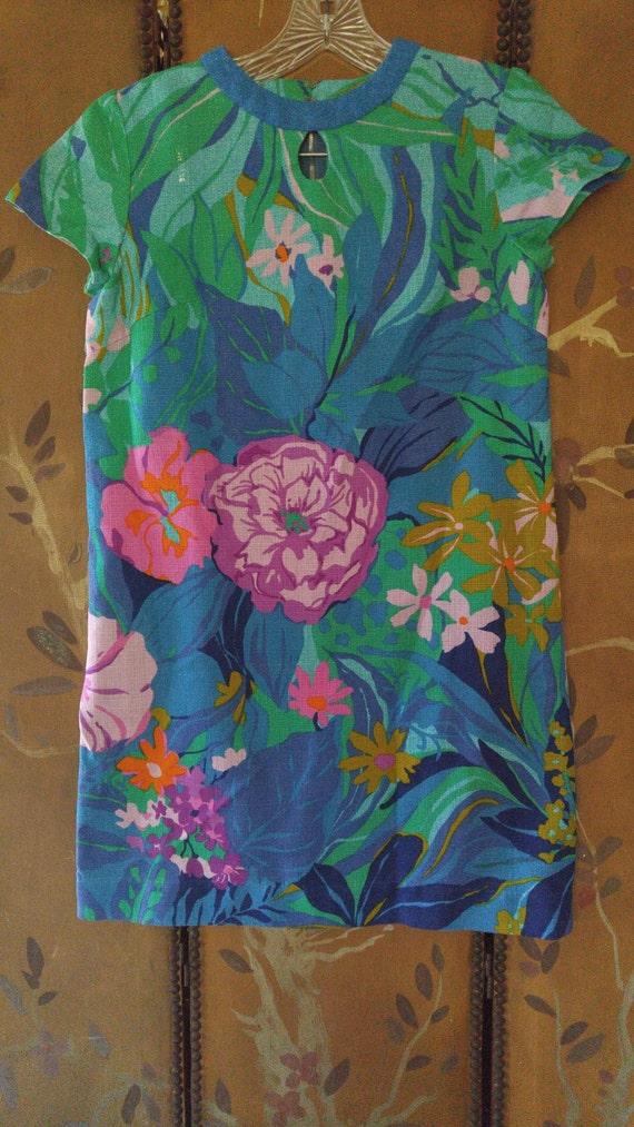 60s bright flower power mini dress