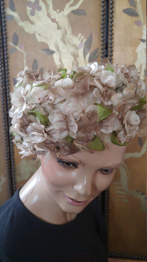 50s dusky pink flowered hat by Evelyn Varon - image 10