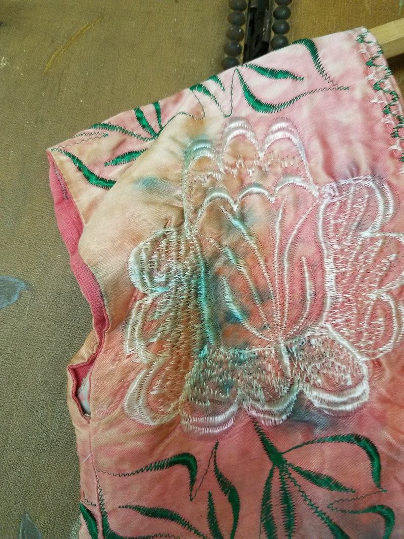 70s exquisite embroidered dye blouse with Hollywood Costumers Portland Or label