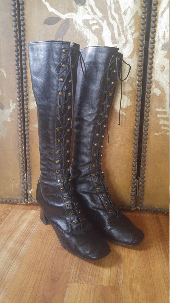 60s black leather knee high lace up kinky boots, n