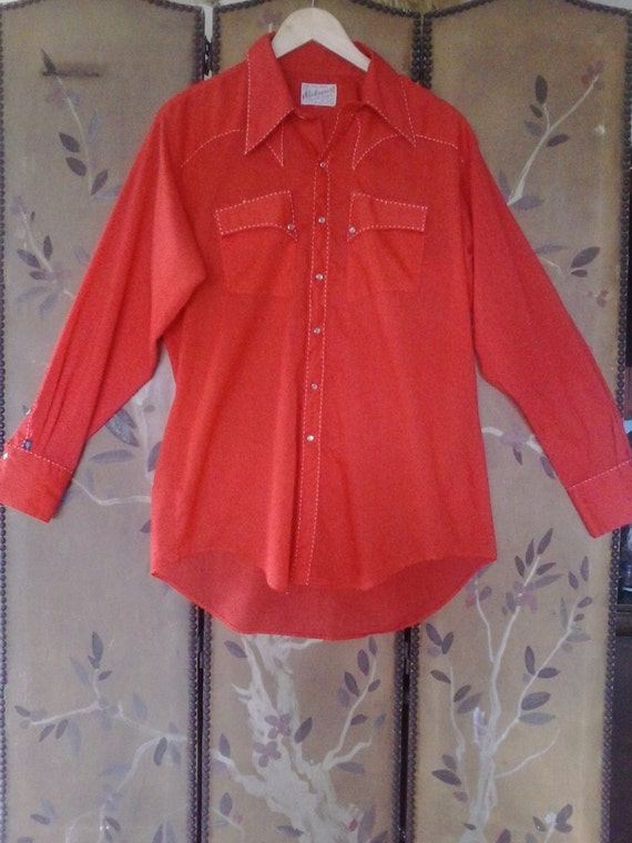 70's Bright red Rockmount Ranchwear Western shirt