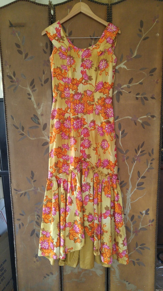 70s maxi flowered Hawaiian dress by Liberty House