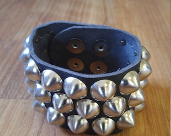 70s black leather studded cuff