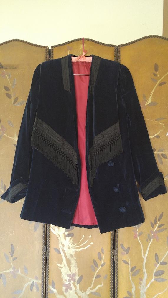 20's velvet fringed navy jacket