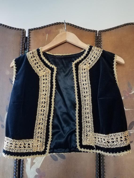 60s black velvet and gold trim waistcoat/ vest