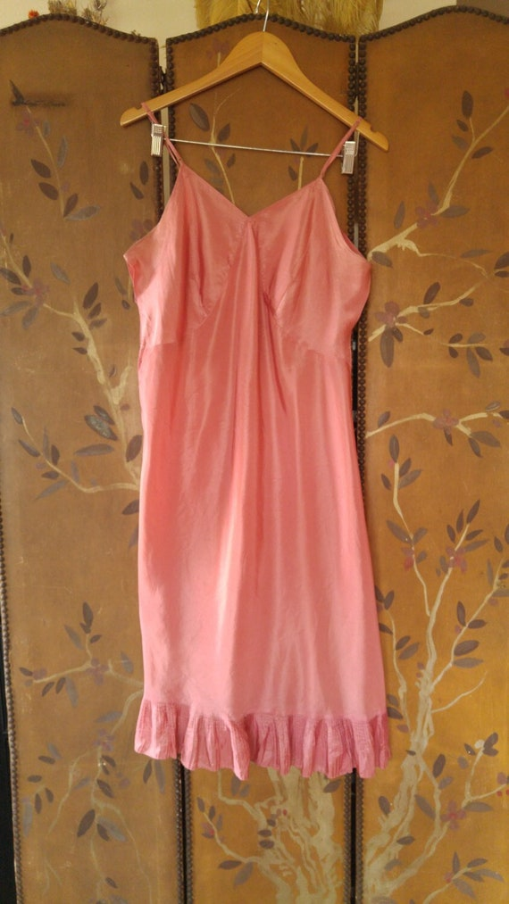 50s dusky pink silky slip underdress with pleated