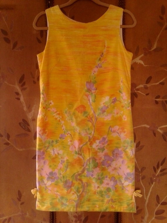 60s bright yellow flowered shift dress - image 1