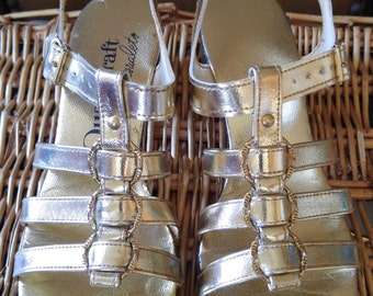 60s Gold strappy sandals by Qualicraft Casualets