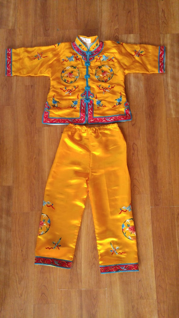 70s Asian bright yellow embroidered childrens paja