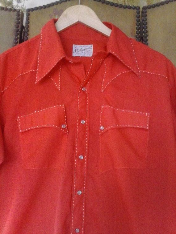 70's Bright red Rockmount Ranchwear Western shirt - image 2