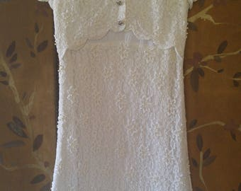 60s white lace, faux pearl and beaded short sleeved dress by Andora, Hong Kong