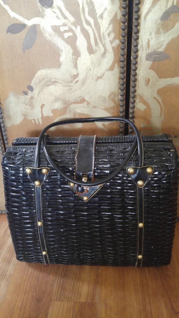 50's Black wicker plastic woven basket / hand bag