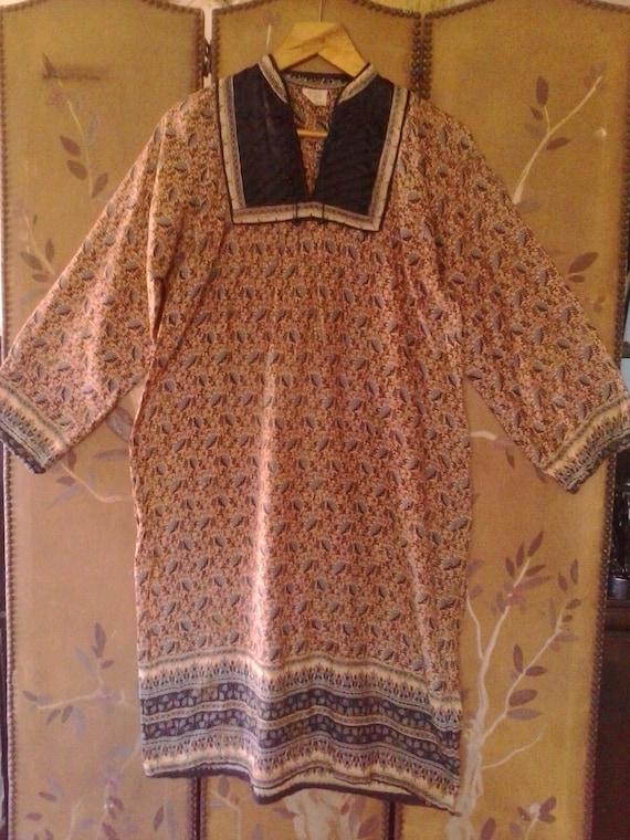 80s Indian gauze hippie / boho dress