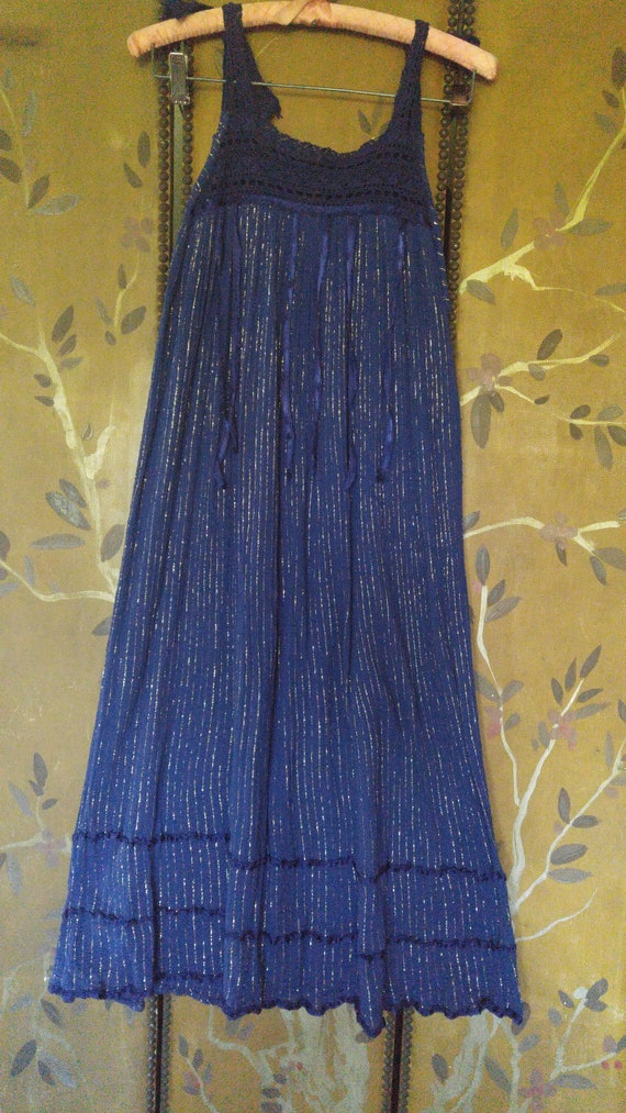 80's navy blue and gold thread gauzy cheesecloth s