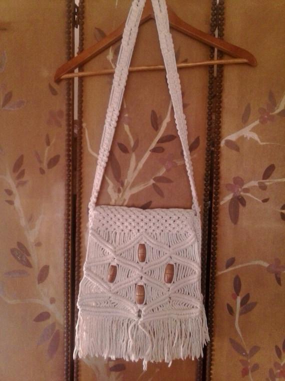 Macrame fringed and beaded 70's shoulder bag